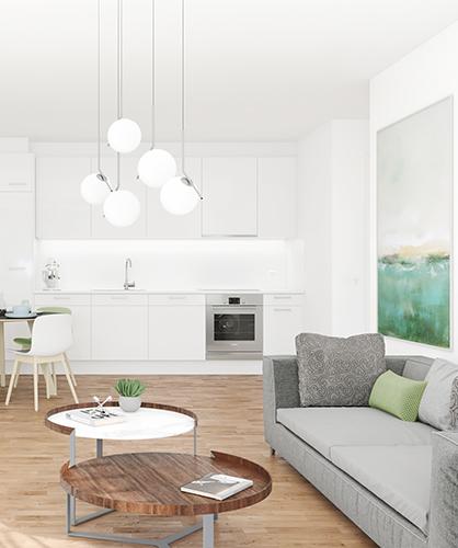 Wohnküche mit Zugang zur Loggia im Haus A im CityGate