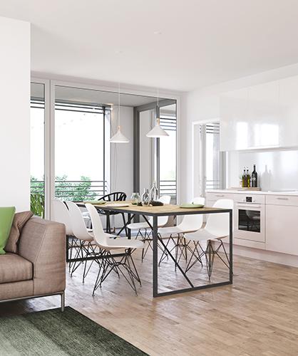 Wohnküche mit Loggia Haus B im CityGate
